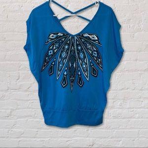 Dots blue patterned v-neck shirt, size small